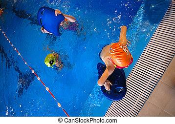 feliz, Nadadores