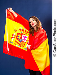 Beautiful woman with Flag of Spane.