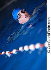 .boy in swimming pool