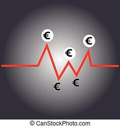 Euro symbol on grey background