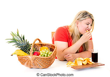 Overweight young woman choosing junk food