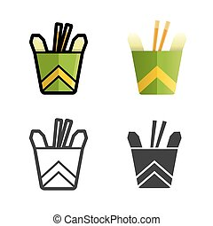 Noodles in a box vector colored icon set - Noodles in a box...