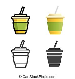 Soft drink vector colored icon set