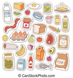 Everyday food icons patchwork vector. - Everyday food icons...