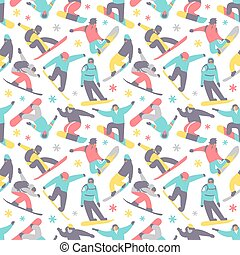 Snowboard seamless pattern vector. - Snowboard seamless...