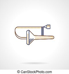 Flat line vector icon for trombone - Blue and yellow...