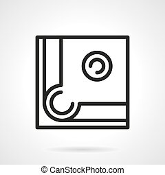Pool table corner simple line vector icon - Abstract symbol...