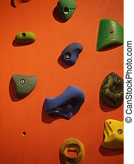 climbing wall - orange climbing wall with hanger to hold