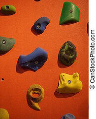 climbing wall hanger hold - a climbing wall with hanger to...