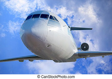 passenger plane in the blue sky - passenger plane in the...