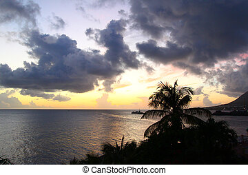 Sunset on Saint Kitts - The sun sets near Basseterre on...