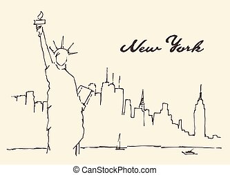 New York city Statue Liberty vector drawn