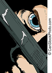 Blue eyed person holding pistol close to face - Extreme...