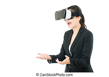 asian business woman surprise receive gift by VR headset -...