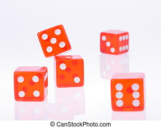 dices gambling luck - Five separate red playing dices...
