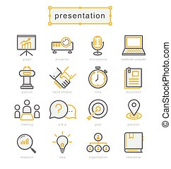 Thin line icons set, Business Presentation - Thin line icons...