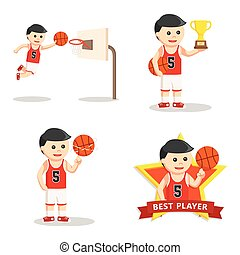 basket ball player set