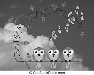 Dawn chorus - Monochrome bird dawn chorus twig text against...