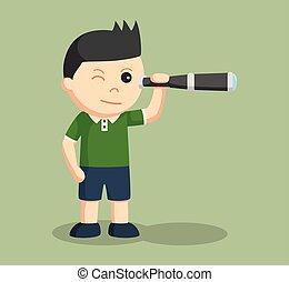 little boy using telescope