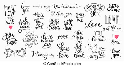 Love Valentines Day quote typography set - Romantic...
