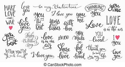 Love Valentines Day quote typography set - Romantic...