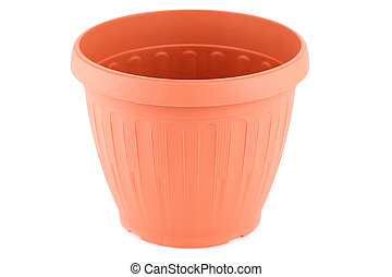 Flower pot - Brown plastic flower pot isolated on white...