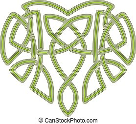 Celtic heart, intertwine knot ethnic symbol - Celtic pattern...