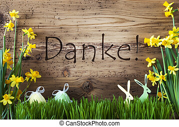 Easter Decoration, Gras, Danke Means Thank You - Wooden...