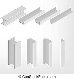 Steel beam isometric vector illustration. - Steel beam...