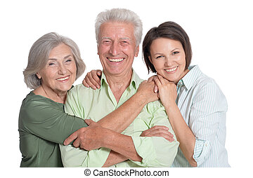 happy family portrait parents with adult daughter, close up