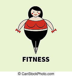 Fat woman exercise. Plus size girl with dumbbells. Vector...
