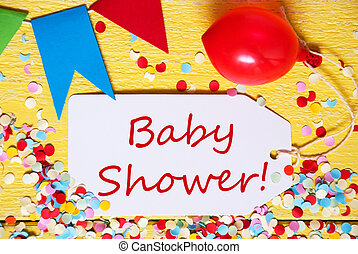 Party Label, Red Balloon, Text Baby Shower