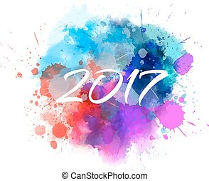 Multicolored blot with 2017 message