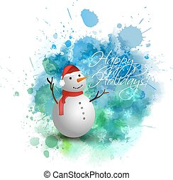 Christmas background with snowman - Blue and green Christmas...
