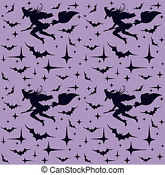 Seamless pattern with flying sexy witch silhouette,...