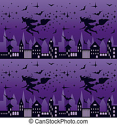 Night city with flying witch silhouette, seamless pattern