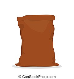 Empty burlap sack. - Empty brown bag on white background....