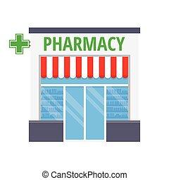 Facade pharmacy store with a signboard - Facade pharmacy...