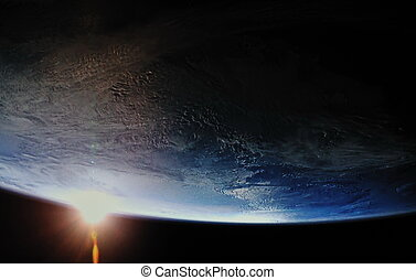 earth sunrise out from space