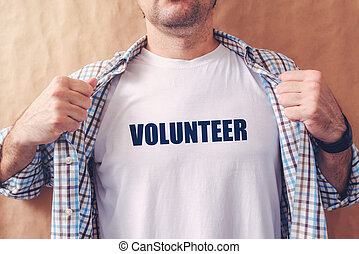 Man is volunteer, confident friendly person offering help