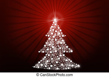 Stylized Christmas tree on red background