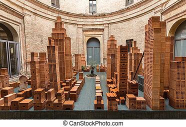 Contemporary art exhibition in central circular courtyard of...