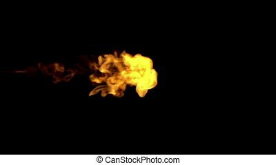 fire paint dissolved in water on a black background. 3d render. voxel graphics. computer simulation 2
