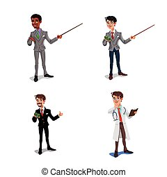 Set 3d businessmen, manager, health worker.