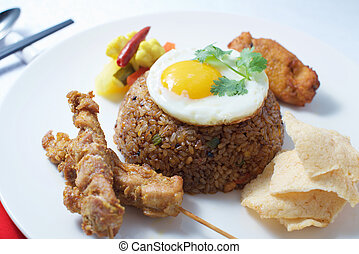 Indonesian Fried Rice dish on white background