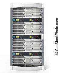 White data server isolated on white background. 3D illustration
