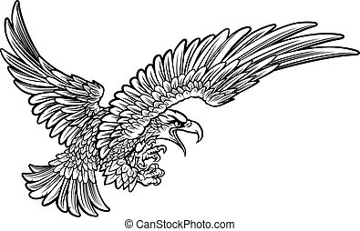 Eagle Swooping from the Side - A bald or American eagle...