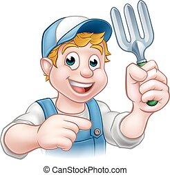 Gardener Cartoon Character - A cartoon gardener holding a...