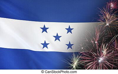 Honduras Flag Firework real fabric - Textile flag of...
