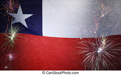 Chile Flag Firework Grunge Concept real fabric - Textile...